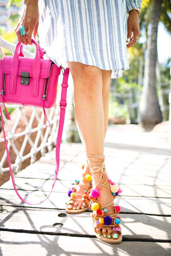 penny lane sandals, elina linardaki sandals, sandals with poms and charm that lace up, over the shoulder dress nordstrom, mini phillip lim pink bag, emily gemma, bahamas_-9